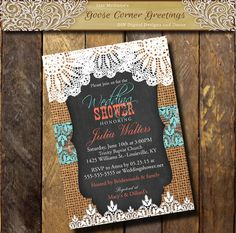 BURLAP Wedding Shower invitation Lace by GooseCornerGreetings