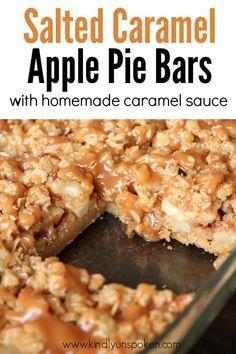 Salted Caramel Apple Pie, Homemade Caramel Sauce, Homemade Apple Pies, Caramel Apples, Salted Caramel Desserts, Salted Caramel Brownies, Apple Dessert Recipes, Apple Recipes, Easy Recipes