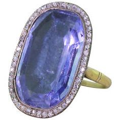 Superb  25.30 Carat Natural Ceylon Sapphire Diamond Silver Gold Ring