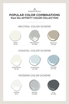 Create harmonious color flow from room-to-room with the Affinity® Color Collection from Benjamin Moore. Learn about the 144 paint colors expertly curated to mix and match seamlessly. Coastal Paint Colors, Farmhouse Paint Colors, Blue Paint Colors, Paint Color Schemes, Room Paint Colors, Interior Paint Colors, Paint Colors For Home, House Colors, Exterior Paint Color Combinations