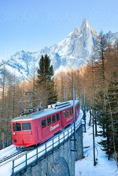 La Mer de Glace train heading from Chamonix to the Mer de Glace Montenvers glacier  by Gavin Hellier