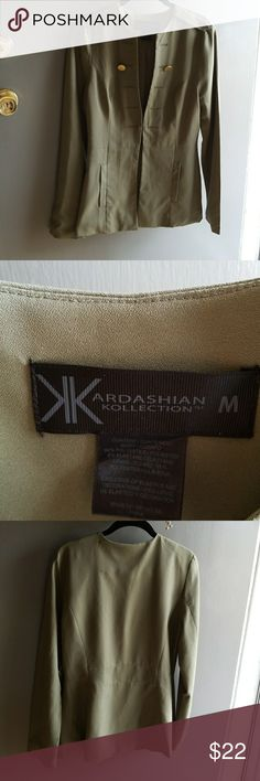 Kardashian Kollection blazer Army inspired, Gently used Kardashian Kollection blazer. Army green, closes in front with 2 eyes an hooks. Button holes are for looks only. Size M Kardashian Kollection Jackets & Coats
