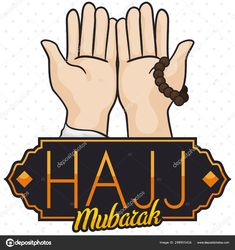 Pilgrim Hands Praying , String Bead and Sign for Hajj Rituals, Vector Illustration Free Vector Images, Vector Free, Hajj Pilgrimage, Praying Hands, Birds In Flight, Prayers, Religion, Typography, Beads