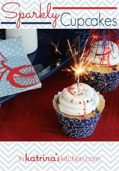 Sparkly Cupcakes ~ A simple vanilla cupcake topped with Vanilla Bean frosting and drizzled with festive vanilla syrup. 4th Of July Desserts, Fourth Of July Food, 4th Of July Celebration, July 4th, Patriotic Cupcakes, Holiday Cupcakes, Vanilla Bean Frosting, Vanilla Cupcakes, Cupcake Recipes