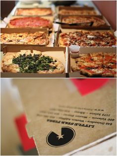 Rehearsal dinner pizza party! This couple got pizzas from all of their fave pizza places for their at-home rehearsal dinner!
