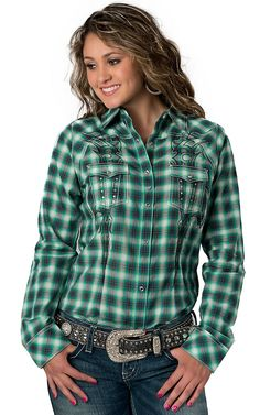 Cowgirl Hardware® Women's Black & Cream Plaid w/ Vine Embroidery ...