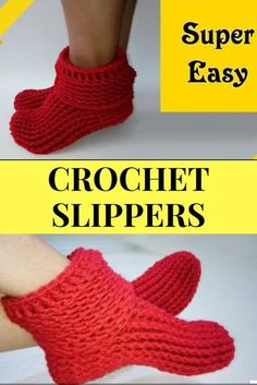 Easy Crochet Slipper Boots Don't let you Tootsie get cold. Whip up a pair of these crochet slipper boots. Writtern pattern and video tutorial included. Easy Crochet Slippers, Crochet Slipper Boots, Slipper Socks, Quick Crochet Patterns, Crochet Simple, Free Crochet Slipper Patterns, Tutorial Crochet, Knit Crochet, Crochet Braids