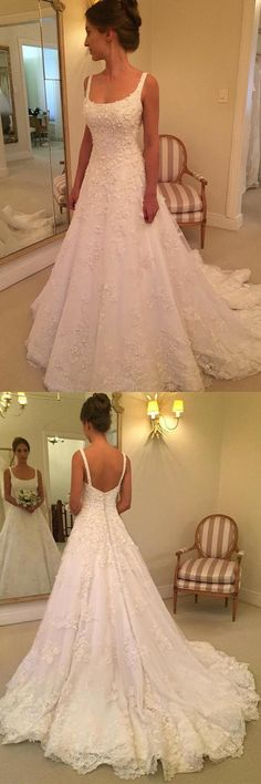 A-line Scoop Sweep Train Sleeveless Wedding Dress with Appliques