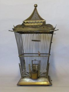 Antique brass birdcage. Lovely shape.✖️No Pin Limits✖️More Pins Like This One At FOSTERGINGER @ Pinterest✖️