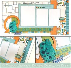 Monsters Inc. WE SCARE Because We CARE Layout  A fun and colorful layout for photos of meeting Sulley at Disney World or Disneyland, Mike and Sulley