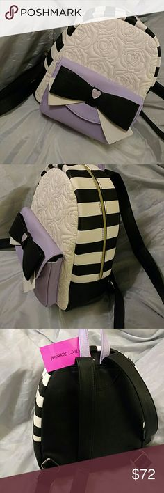 Betsey johnson backpack with purple pocket NWT And black bow golden tone accents (gmaEA) Betsey Johnson Bags Backpacks