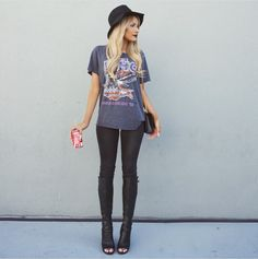Rocker chic in a band tee and skinnies.
