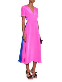 Morrocain bi-colour silk midi dress | Roksanda | MATCHESFASHION.COM