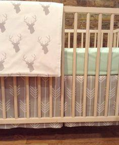 3 Piece Mint and Gray Woodland Bumperless Crib Bedding Set By Hudson Bedford, http://www.amazon.com/dp/B00K70ISD4/ref=cm_sw_r_pi_awdm_vWqJtb06KZV6Q