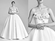 Viktor & Rolf | This couture inspired gown features handcrafted flowers on the bodice with a striking detachable train.