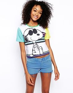 ASOS Cropped T-Shirt with Skater Snoopy Print
