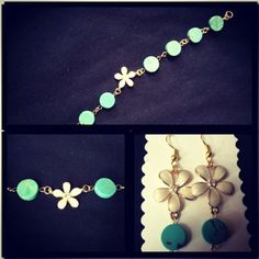 Pearl flower with turquoise round bead bracelet with matching earrings.