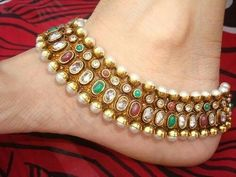 Anklet Designs, Bangles, Beaded Bracelets, Gold Belts, Silver Anklets, South Indian Bride, Beautiful Bride, Blouse Designs, Brides