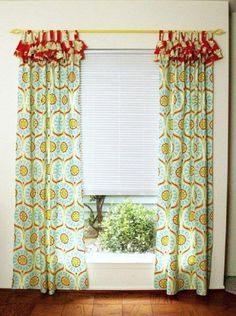 DIY Bright and Cheery Ruffled Curtains