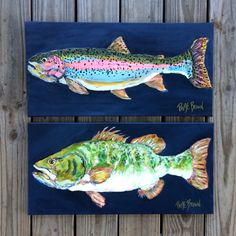 #paigebrownart fish paintings / fish art / man room / 12x24 / for sale etsy / trout painting / bass painting : rainbow trout / fly fishing art.   https://www.etsy.com/shop/PaigeBrownArt?ref=s2-header-shopname