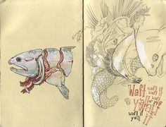 Collection of scans from a moleskine sketchbook started in April 2009 and completed in May 2010. By Stephanie Brown.