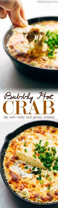 Bubbly Hot Crab Dip - this hot crab dip tastes just like crab rangoon puffs! It's easy to make and takes about 30 minutes and is perfect for NYE parties, christmas, or super bowl sunday! #hotcrabdip #crabdip #crabrangoondip #dip | Littlespicejar.com