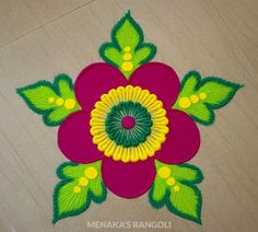 Here are some very easy and simple rangoli designs you can make them at any festival. Simple rangolis are the best choice. Rangoli Designs Simple Diwali, Simple Flower Rangoli, Rangoli Designs Latest, Rangoli Designs Flower, Free Hand Rangoli Design, Rangoli Border Designs, Small Rangoli Design, Rangoli Ideas, Rangoli Designs With Dots
