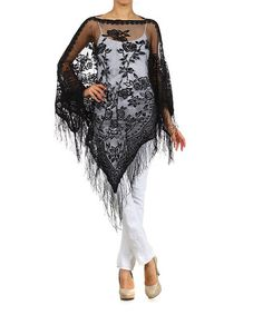 Look what I found on #zulily! Black Lace Fringe Long-Sleeve Poncho #zulilyfinds