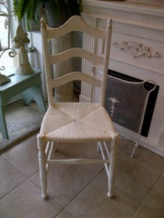 """vintage chair repainted in """"Old White""""...even the rush seat was painted!"""