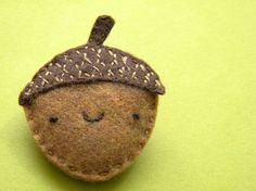 Make as a tiny pouch and put thankfulness slip inside. hang from branch with leaves. Sweet Acorn The Thursday Felt Brooch by scientificculture on Etsy