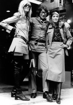Saint Laurent with muses Betty Catroux and Loulou de la Falaise in safari jackets - Getty Images