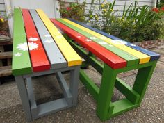 Pretty painted garden benches