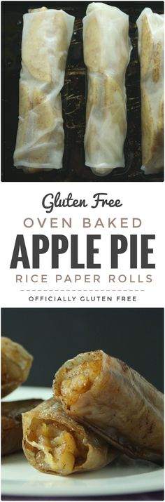 Apple Pie Rice Paper Rolls This Easy to make and so delicious Baked Apple Pie Rice Paper Rolls recipe makes a perfect dessert. Theyre Easy to make and so delicious Baked Apple Pie Rice Paper Rolls recipe makes a perfect dessert. Gluten Free Sweets, Gluten Free Cooking, Dairy Free Recipes, Vegan Gluten Free, Vegan Recipes, Cooking Recipes, Gluten Free Cakes, Lactose Free, Delicious Recipes