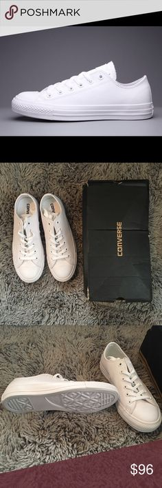 Low Top White Leather Converse Lace Up Sneakers New in box. They run big, so purchase a size down. This is 8.5 so purchase if you're a 9 or 9.5. These are super hard to find. And when I finally found them, they didn't fit me.  Converse Shoes Sneakers