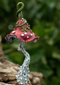 Red white  amanita with khaki leaves fantasy mushroom by Petradi:
