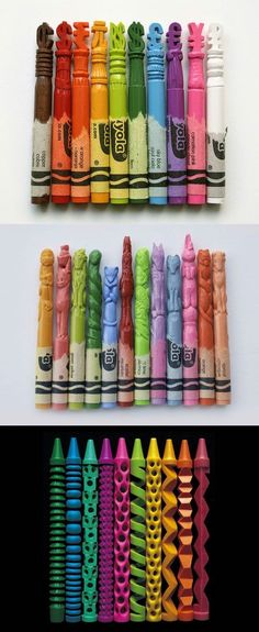 funny crayon carving art on imgfave Fun Crafts, Arts And Crafts, The Meta Picture, Cartoon Kunst, Amazing Art, Awesome, Crayon Art, Wow Art, Psychedelic Art