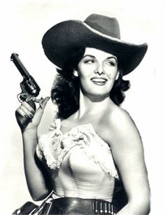 """Jane Russell as Calamity Jane opposite Bob Hope in """"The Paleface"""" Jane Russell, Old Hollywood Glamour, Vintage Hollywood, Classic Hollywood, Calamity Jane, Howard Hughes, Cow Girl, Classic Actresses, Actors & Actresses"""