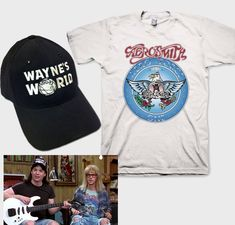 8173d22add259 Wayne s World Garth Aerosmith T-shirt with Waynes Hat complete Halloween  Costume Set Black Cap with