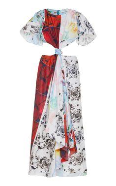 Prabal Gurung Printed Silk Cutout Midi Dress In Multi Naeem Khan, Prabal Gurung, Chiffon Gown, Mixing Prints, Flutter Sleeve, Black Sandals, Evening Gowns, Cool Designs, Style Inspiration