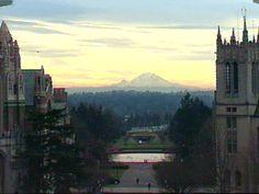University of Washington campus and Mt. Ranier, Seattle, WA