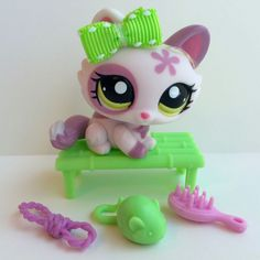 Littlest Pet Shop Cute Purple Tabby Kitten #1628 w/Green Eyes & Accessories #Hasbro