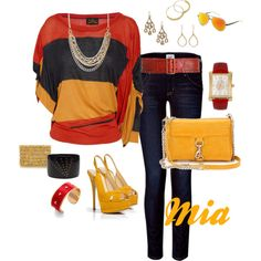 Vivienne Westwood top, Hudson skinnies, Rebecca Minkoff clutch, Giuseppe Zanotti platform slingbacks, Italia aviators, Betsy Johnson watch, French Connection necklace & your choice of cuffs and earrings