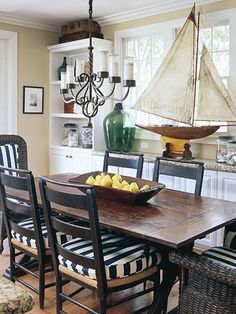 coastal dining room. big sailboat.