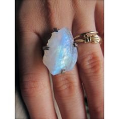 Raw moonstone ring/ Moonstone is a great very affordable semi gem stone that really dances with the sunlight if cut well ~~GG~~