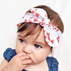 White & coral tie headband by turbansfortots on Etsy