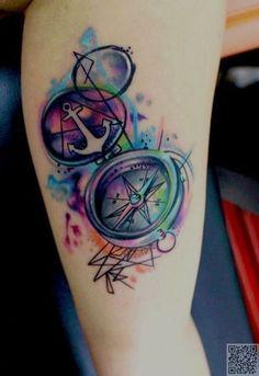 31. la #brújula y de anclaje - 45 #tatuajes acuarelas increíbles... → #Beauty