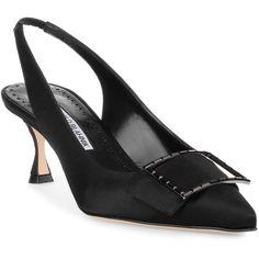 Conchita 50 Black Satin Pump (12.459.385 IDR) ❤ liked on Polyvore featuring shoes, pumps, black, black slingback pumps, black sling back shoes, black satin shoes, satin pumps and slingback pumps