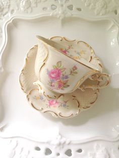Vintage Hafford Bone China Tea Cup and Saucer by MariasFarmhouse, $22.00