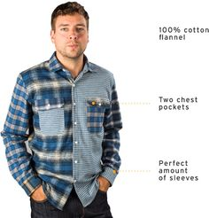 Betabrand Blue Men's Mixed-Panel Flannel Button-Up Shirt for men Work Shirts, Button Up Shirts, Betabrand, Flannel Shirts, Men Casual, My Style, Clothing, Sleeves, Mens Tops