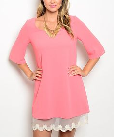 Look at this Coral 7 White Lace-Trim Shift Dress on #zulily today!